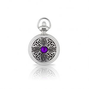 A E Williams Ladies Pendant Watch with Celtic Knot and Stone