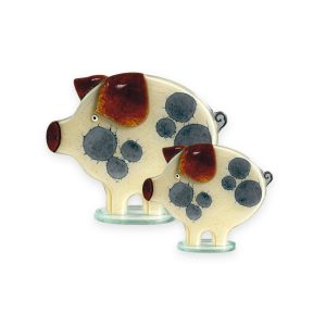 Nobile Fused Glass Pig- Honey Small