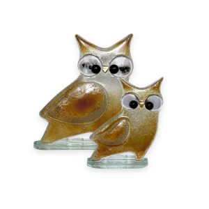 Nobile Glass Fused Glass Owl Gold Large
