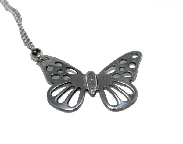 Ladycrow Pewter Butterfly Necklace on Chain