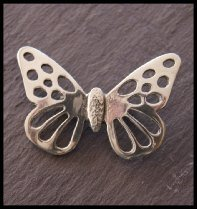 Large Butterfly Ladycrow Pewter Brooch in Gift Box