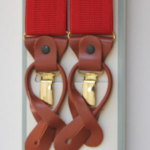 Plain Red Braces with Leather Tabs and Clips