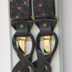 Green Paisley Patterned Braces with Leather Tabs and Clips