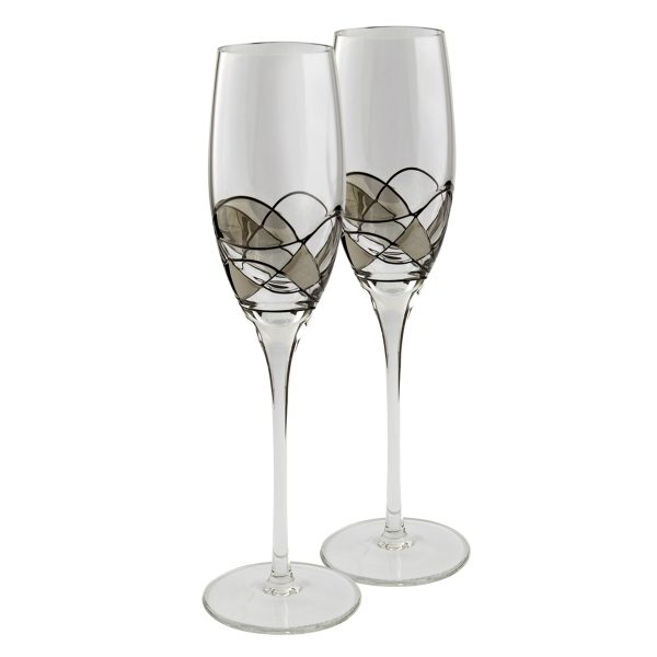 Nobile Silver Mosaic Champagne Glasses Pair