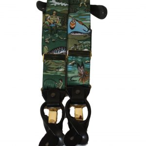 Fishing  Braces with Leather Tabs and Clips