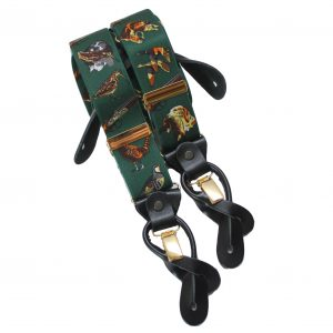 Green Gun Dog Braces with Leather Tabs and Clips